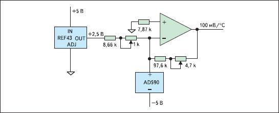 Схема с датчиком температуры AD590