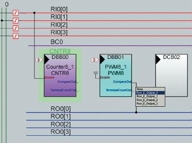 Рис. 9. Размещение модулей пользователя на массиве цифровых блоков
