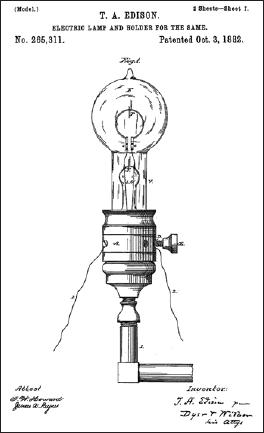 Патент Эдисона № 265311 на электрическую лампу и патрон
