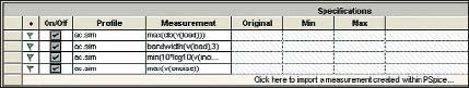 Таблица Specifications с внесенными измерениями