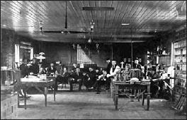 Одно из помещений лаборатории в Менло-Парке, 1880 год