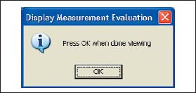 Диалоговое окно Display Measurement Evaluation