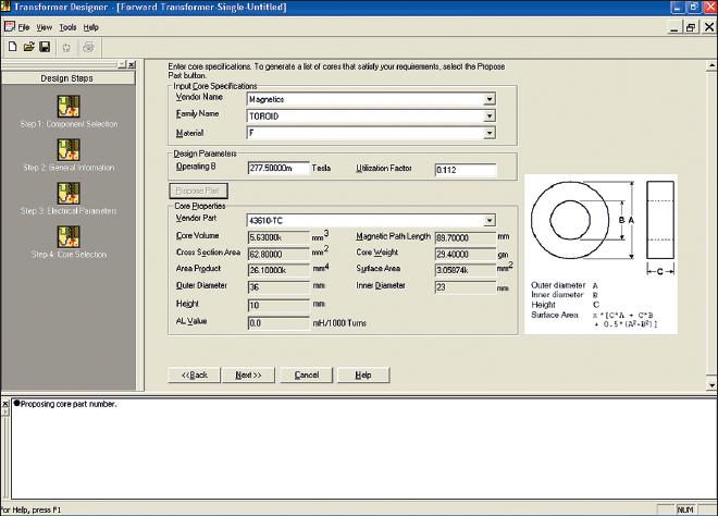 Рис. 1. Интерфейс диалогового окна Transformer Designer