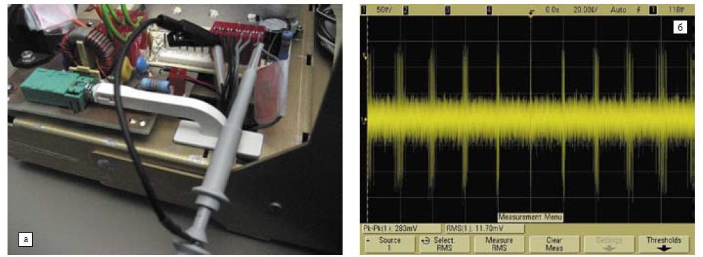 а) Измерение шумов; б) осциллограмма с дополнительными шумами