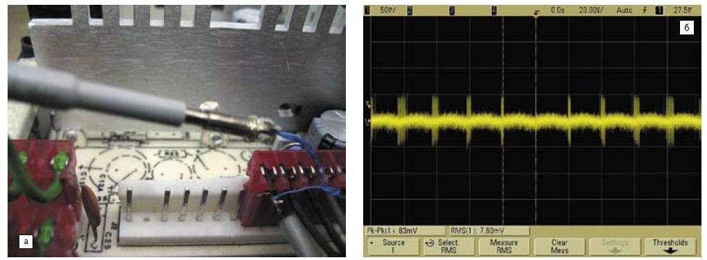 а) Использование наконечника меньших размеров; б) осциллограмма, демонстрирующая снижение шумов