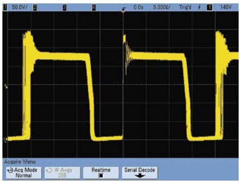 Осциллограмма напряжения сток–исток при работе осциллографа в режиме с высоким разрешением