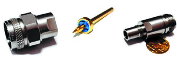 Адаптер RPC-N 05S121 K00S3 компании Rosenberger (изолятор из материала PPE (голубого цвета) вмонтирован в металлическую оправу литьем под давлением)
