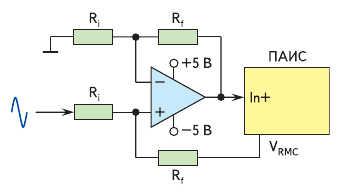 Рис. 5. Входной каскад, преобразующий биполярный сигнал в униполярный с постоянной составляющей, равной V_RMC = +2,0 В