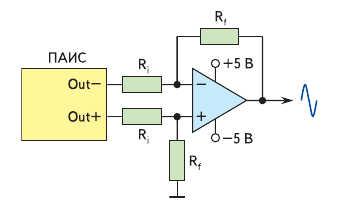 Рис. 7. Схема преобразования выходного униполярного дифференциального сигнала в биполярный недифференциальный сигнал