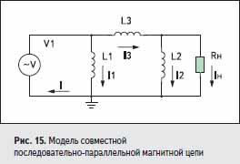 Модель совместной последовательно-параллельной магнитной цепи