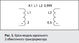 Spice-модель идеального 2-обмоточного трансформатора
