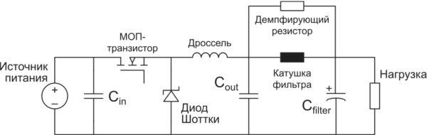 Демпфирование выходного фильтра путем подключения демпфирующего резистора параллельно катушке индуктивности фильтра