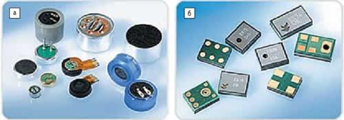 Миниатюрные микрофоны Knowles Electronics для потребительских применений: а) ECM; б) МЭМС-микрофоны для поверхностного монтажа