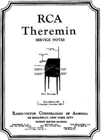 Рис. 4. Техническое описание терменвокса, подготовленное фирмой RCA Inc.
