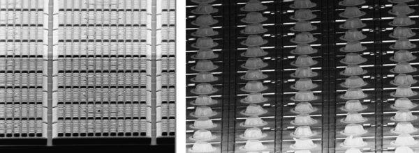 Вид фоточувствительной пластины после проведения полупроводникового процесса— пикселизации и после нанесения индиевых столбиков