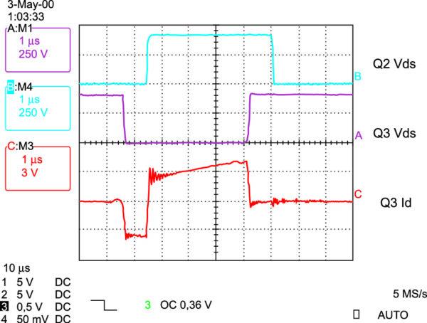 Осциллограммы для мостовой ZVS-схемы с фазовым сдвигом
