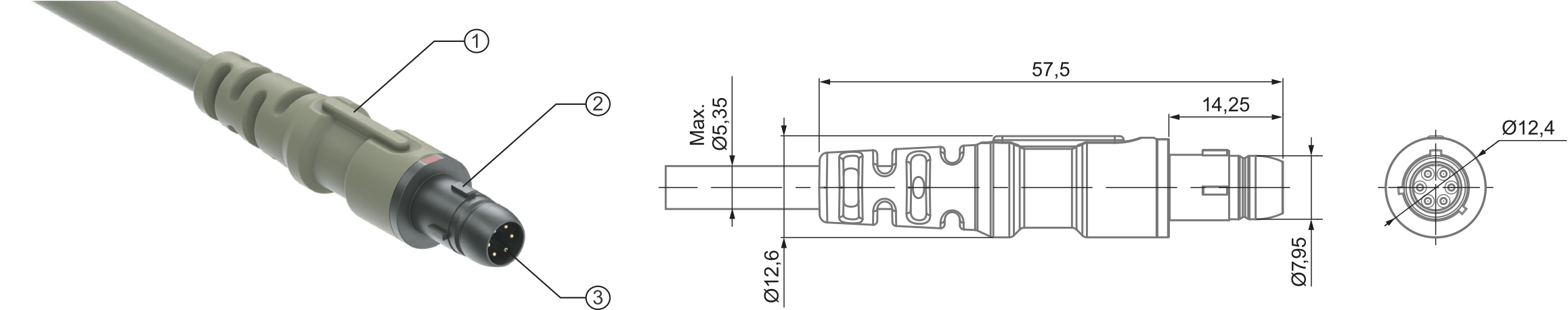Кабельная вилка серии UltiMate 80: 1 — хвостовик; 2 — корпус; 3 — контакты