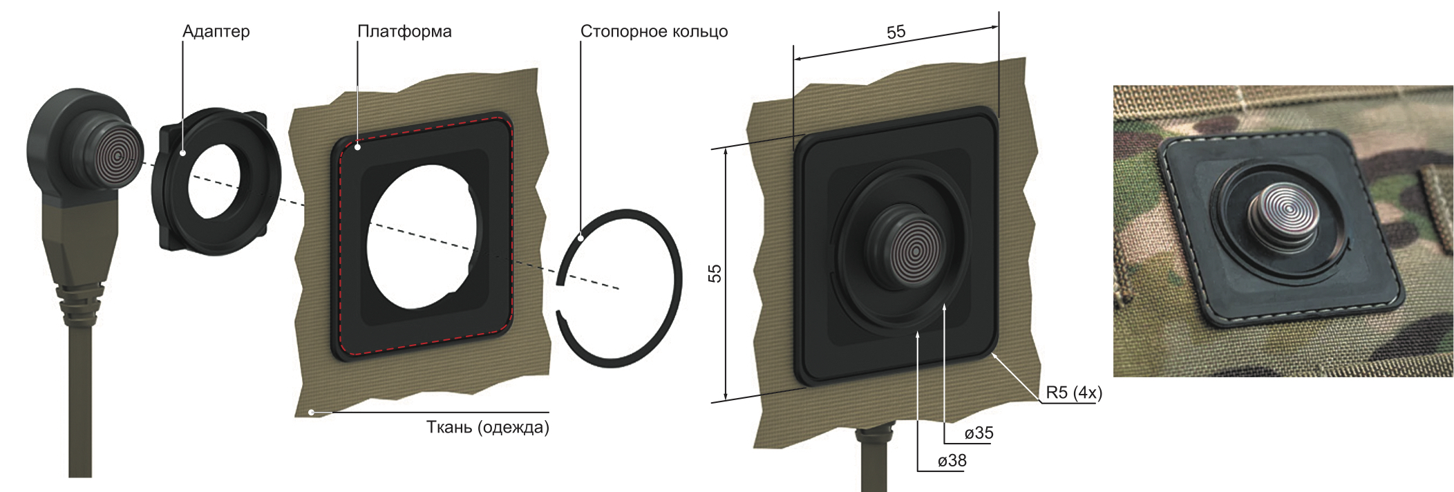 Комплект деталей для размещения соединителя на одежде