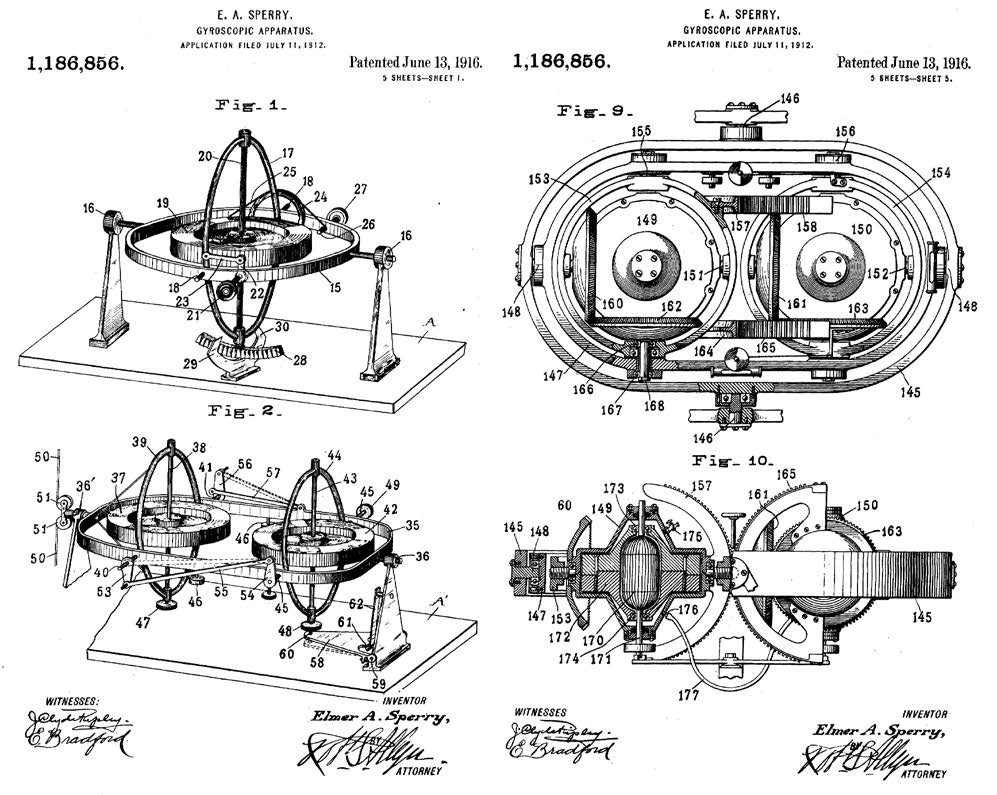 Ранние модели гироскопов Sperry (источник: патент US1186856)