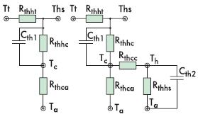Рис. 3. Эквивалентные тепловые схемы ЭК