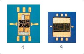 Размещение монолитно-интегральной схемы СВЧ-усилителя на поверхности многослойной ИС на КНТО (а) и в специально сформированной полости (б) [11]