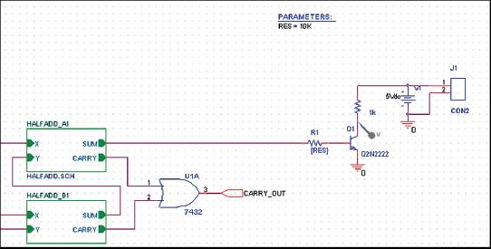 Рис. 45. Страница схемы, подготовленная для параметрического анализа
