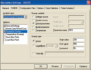 Рис. 46. Вкладка Analysis диалогового окна Simulation Settings