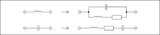 Эквивалентные схемы замещения индуктивностей и конденсаторов