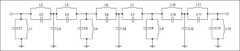 Схема второго варианта полосового фильтра