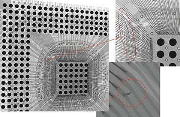 Выявленные при помощи рентгеновского контроля дефекты микросхемы