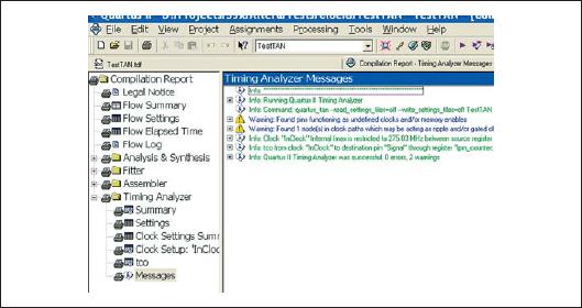 Фрагмент окна Compilation Report с развернутой секцией Timing Analyzer — Messages