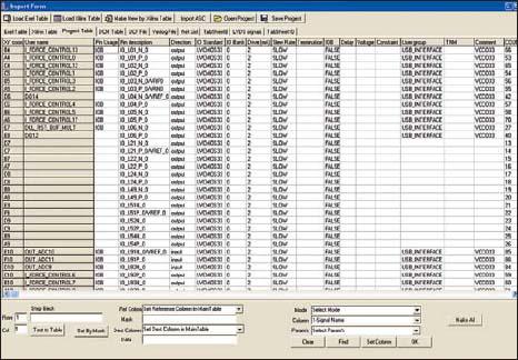 Внешний вид окна программы с основной таблицей сигналов