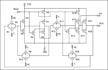 Электрическая схема статического двухтактного D-триггера с асинхронным входом Reset, включенного по схеме счетного T-триггера