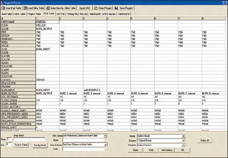 Внешний вид окна программы с таблицей данных для блоков DCM