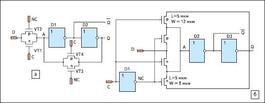 D-триггер, тактируемый уровнем синхросигнала, на основе двух коммутируемых проходных ключей