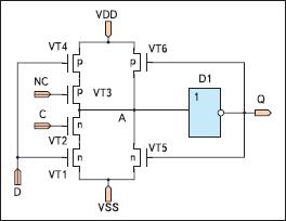D-триггер на основе динамических ключей (с использованием одного статического инвертора)