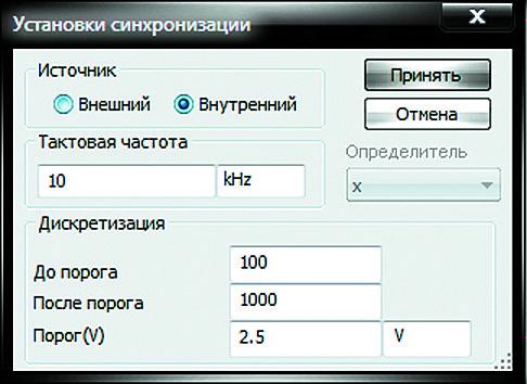 Окно установки синхронизации