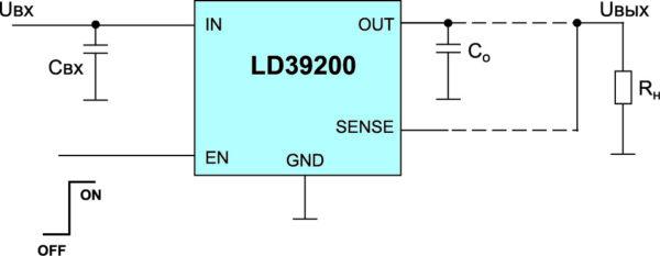 Типовая схема включения LDO ИСН LD39200 с точной установкой выходного напряжения