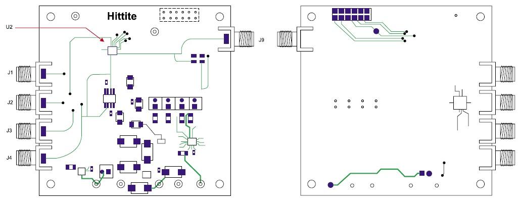 Печатная плата контроля микросхемы HMC704