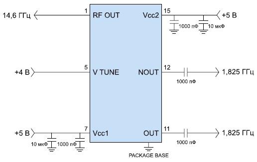 Типовая схема включения микросхемы HMC398QS16G/398QS16GE