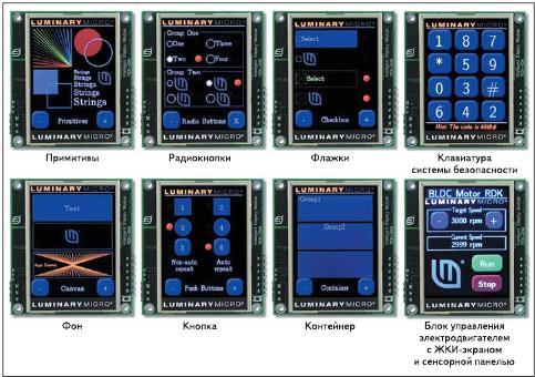 Рис. 6. Примеры использования графической библиотеки StellarisWare Graphics Library