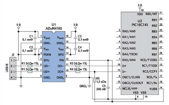 Рис. 7. Изолированный порт периферийного устройства