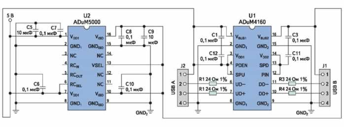 Рис. 9. Изолированный интерфейсный кабель с DC/DC-преобразователем isoPower