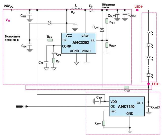 Рис. 4. Схема совместного включения АМС3202 и АМС71