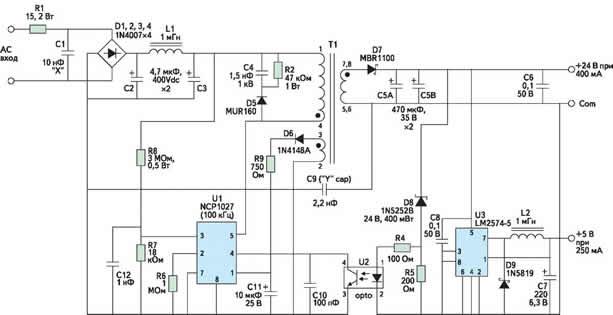 Схема сетевого адаптера на базе NCP1027 для питания промышленных контроллеров