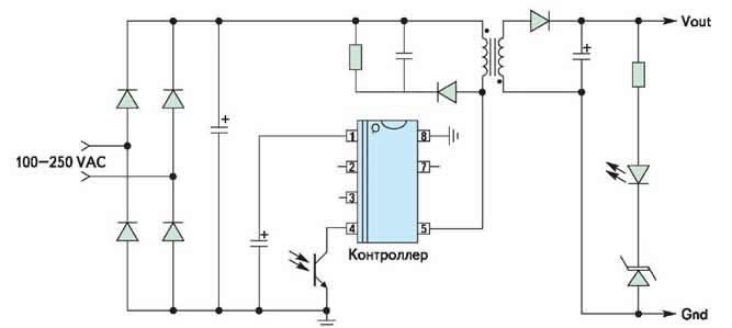 Базовая схема применения контроллеров NCP101x/102x