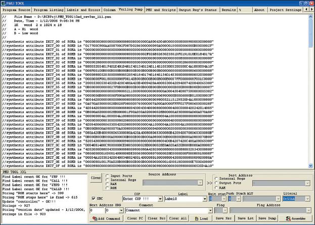 Рис. 9. Окно программы Verilog Dump, в котором показано, как программа формирует дамп данных для инициализации памяти программ