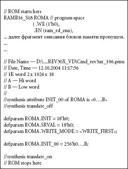 Рис. 10. Фрагмент файла описания микроконтроллера со «вставленными» в него кодами инициализации памяти программ