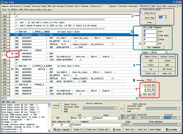 Рис. 11. Окно симуляции выполнения программы встроенного микроконтроллера