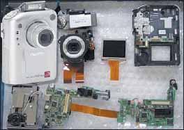 Видеокамера в деталях межсоединений гибкими печатными платами